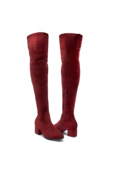 Shoe Land CARAA-Women's Suede Fashion Thigh High Block Heel Side Zipper Back Lace Over The Knee Casual Boots (Burgundy)