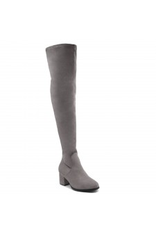 Shoe Land CARAA-Women's Suede Fashion Thigh High Block Heel Side Zipper Back Lace Over The Knee Casual Boots (Grey)