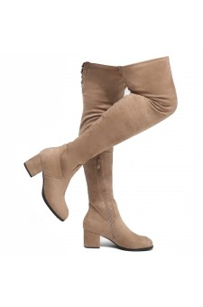 Shoe Land CARAA-Women's Suede Fashion Thigh High Block Heel Side Zipper Back Lace Over The Knee Casual Boots (Khaki)