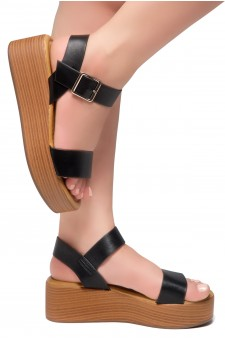 HerStyle Carita- Open Toe Ankle Strap Platform Wedge (Black/Wood)