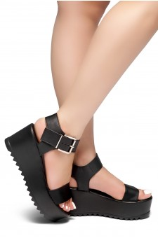 HerStyle Carita- Open Toe Ankle Strap Platform Wedge (Black)