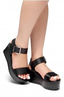 HerStyle Carita- Open Toe Ankle Strap Platform Wedge (Black)