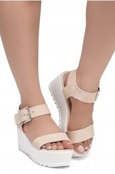HerStyle Carita- Open Toe Ankle Strap Platform Wedge (Blush)