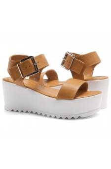 HerStyle Carita- Open Toe Ankle Strap Platform Wedge (Camel)