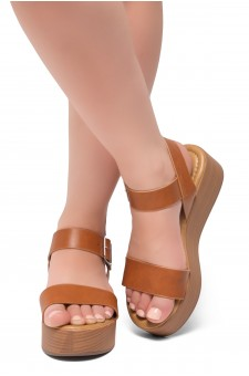 HerStyle Carita- Open Toe Ankle Strap Platform Wedge (Cognac/Wood)