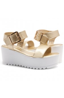 HerStyle Carita- Open Toe Ankle Strap Platform Wedge (Light Gold)