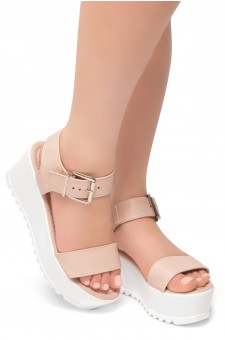 HerStyle Carita- Open Toe Ankle Strap Platform Wedge (Mauve)