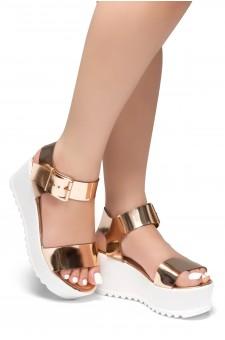 HerStyle Carita- Open Toe Ankle Strap Platform Wedge (RoseGold)