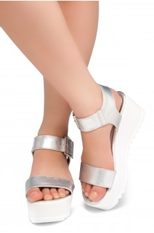 HerStyle Carita- Open Toe Ankle Strap Platform Wedge (Silver)