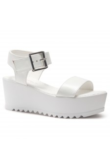 HerStyle Carita- Open Toe Ankle Strap Platform Wedge (White)