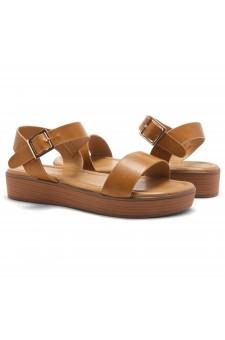 Herstyle Carli-Women's Platform Sandal Open Toe (Cognac/Brown)