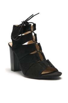 HerStyle Carnibbi open toe, chunky heel, a gladiator inspired strappy with front lace-up (Black)