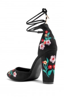 HerStyle Carrson floral embroidery, chunky heel (Black)