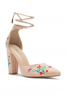 HerStyle Carrson floral embroidery, chunky heel (Camel)
