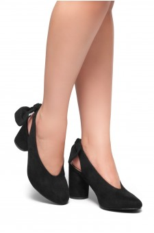 HerStyle CARTIERA-Sling back with a bow detail, Chunky heel (Black)