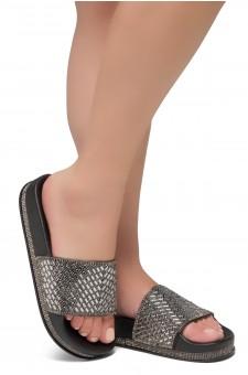 Shoe Land Caterina-2-Women's Fashion Rhinestone Slide Slip On Summer Sandals (Black)