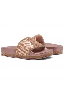 Shoe Land Caterina-2-Women's Fashion Rhinestone Slide Slip On Summer Sandals (RoseGold)
