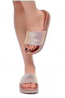 HerStyle Caterina-Rhinestone Details Open Toe Slide Sandal (RoseGold)