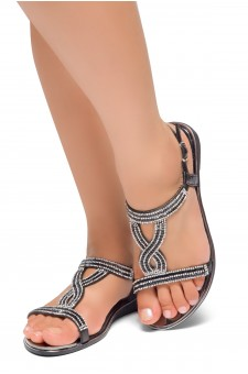 HerStyle Caterinnaa-Rhinestone Details, Open Toe, Open Back Sandals (Black)