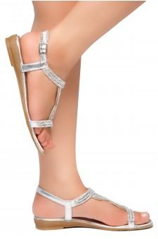 HerStyle Caterinnaa-Rhinestone Details, Open Toe, Open Back Sandals (Silver)