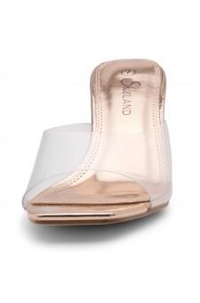 Shoe Land CELEBRATE Women's Clear Peep Toe Slip-on Block Heels Sandals(ClearRosegold)
