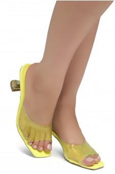 Shoe Land CELEBRATE Women's Clear Peep Toe Slip-on Block Heels Sandals(LimeYellow)
