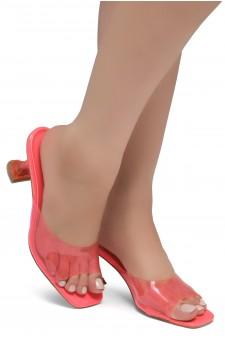 Shoe Land CELEBRATE Women's Clear Peep Toe Slip-on Block Heels Sandals(Pink)