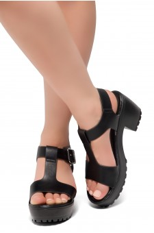 Herstyle Certain-Women's Platform Sandal with Low Heel T-Strap Open Toe (Black)
