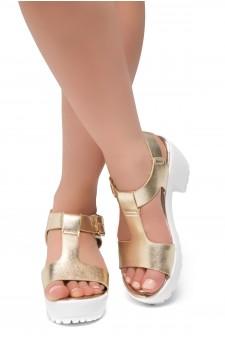 Herstyle Certain-Women's Platform Sandal with Low Heel T-Strap Open Toe (Light.Gold)