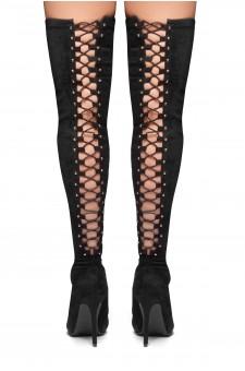 HerStyle Cessi-Stiletto heel, Thigh high, nail head detail (Black)