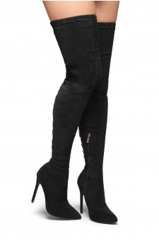 HerStyle Cessi-Stiletto heel, Thigh high, nail head detail (Black)