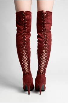 HerStyle Cessi-Stiletto heel, Thigh high, nail head detail (Burgundy)