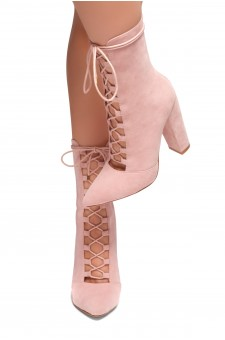 HerStyle CHAOS-Chunky heel, Adjustable front lace-up Booties(Mauve)