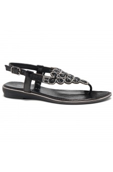 HerStyle Charlee- Thong Sandals with Patterned Jeweled Vamp (Black)