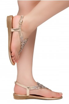 HerStyle Charlee- Thong Sandals with Patterned Jeweled Vamp (RoseGold)