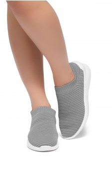 HerStyle Charlie--Knit Fitted Sock Sneakers (Grey)