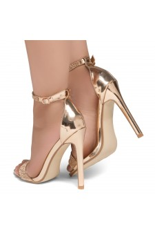 Shoe Land Charming2- Ankle Strap With Blink Blink Jeweled Embellishment Open Toe Stiletto Heel (1906/Gold)