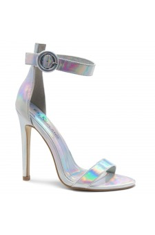 Shoe Land Charming- Ankle Strap Rounded Buckle Open Toe Stiletto Heel (1901/Silver)