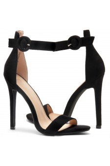 HerStyle Charming- Ankle Strap Rounded Buckle Open Toe Stiletto Heel (Black)