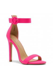 Shoe Land Charming- Ankle Strap Rounded Buckle Open Toe Stiletto Heel (FuchsiaNeon)