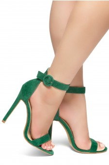HerStyle Charming- Ankle Strap Rounded Buckle Open Toe Stiletto Heel (Green)