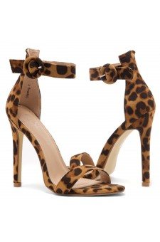 Shoe Land Charming- Ankle Strap Rounded Buckle Open Toe Stiletto Heel (Leopard)