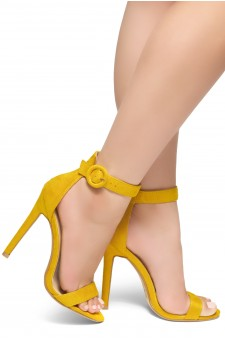HerStyle Charming- Ankle Strap Rounded Buckle Open Toe Stiletto Heel (Mustard)