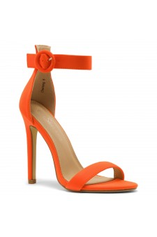 Shoe Land Charming- Ankle Strap Rounded Buckle Open Toe Stiletto Heel (OrangeNeon)