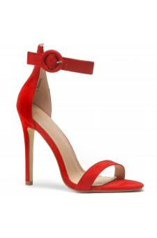 HerStyle Charming- Ankle Strap Rounded Buckle Open Toe Stiletto Heel (Red)