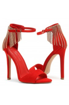 Shoe Land Charming- Rhinestone Tassel Ankle Strap Open Toe Stiletto Heel (1836/RED)