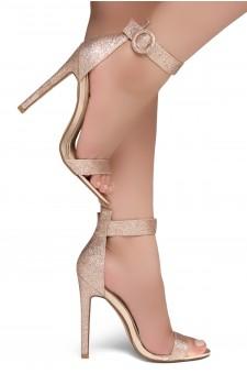 Shoe Land Charming- Ankle Strap Rounded Buckle Open Toe Stiletto Heel (RosegoldGlitter)