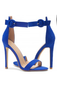 HerStyle Charming- Ankle Strap Rounded Buckle Open Toe Stiletto Heel (RoyalBlue)