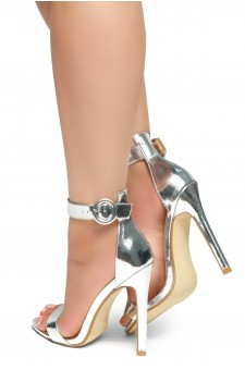 HerStyle Charming- Ankle Strap Rounded Buckle Open Toe Stiletto Heel (Silver)