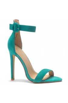 HerStyle Charming- Ankle Strap Rounded Buckle Open Toe Stiletto Heel (Teal)